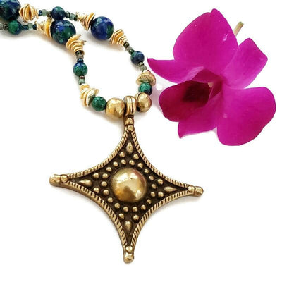 Brass Star Pendant with Semi-Precious Stones Necklace