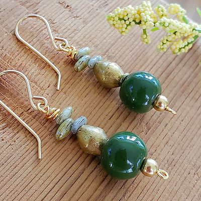 Green Kazuri Earrings