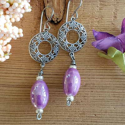 Lavender Ceramic Earrings with Filigree