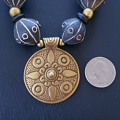 Chunky Mali Clay Necklace with Pendant