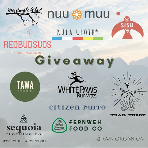blue grey mountain scene in background with overlay of 12 logos for brands participating in giveaway