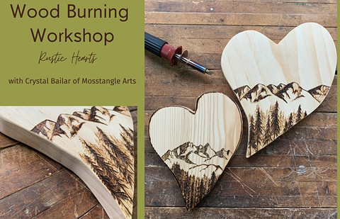 Galentine's Party Ideas | Mosstangle Arts Woodburning Workshop: Rustic Hearts