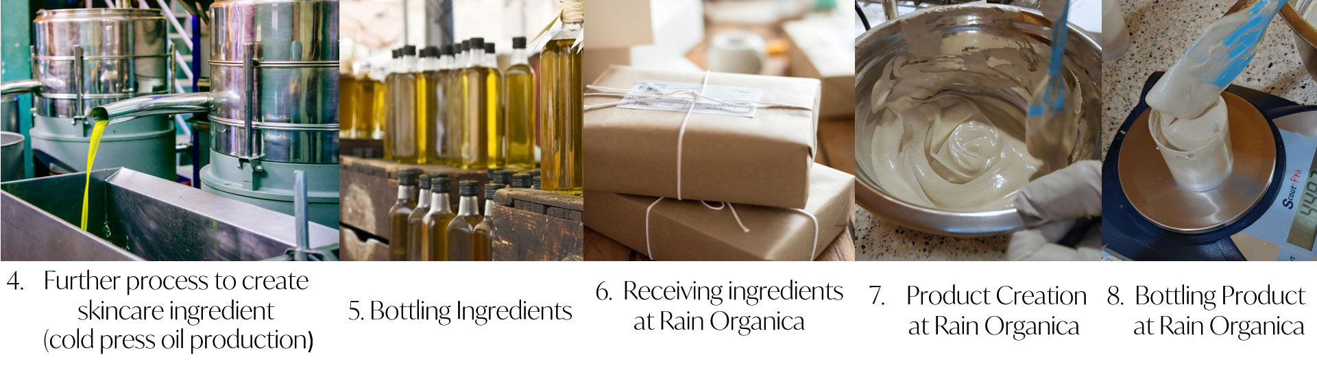 process for creating and bottling cold pressed oils for skincare