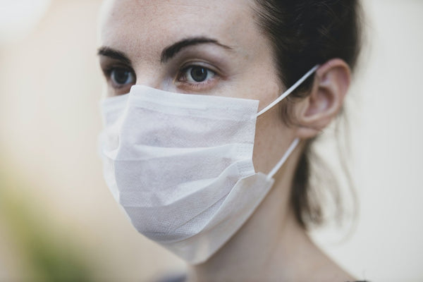 close up of woman wearing a surgical mask