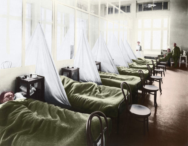1918 influenza ward at a US army base in France digitally enhanced with color
