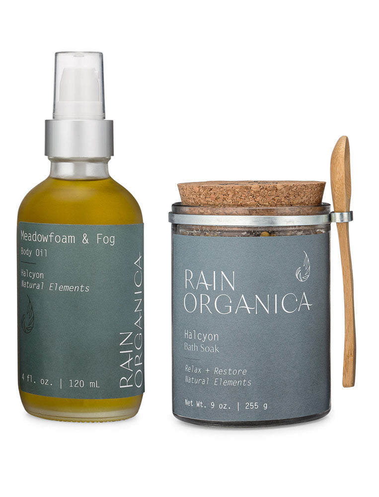 Rain Organica Halcyon Gift Set - Organic Body Oil and Bath Soaks with organics ingredients