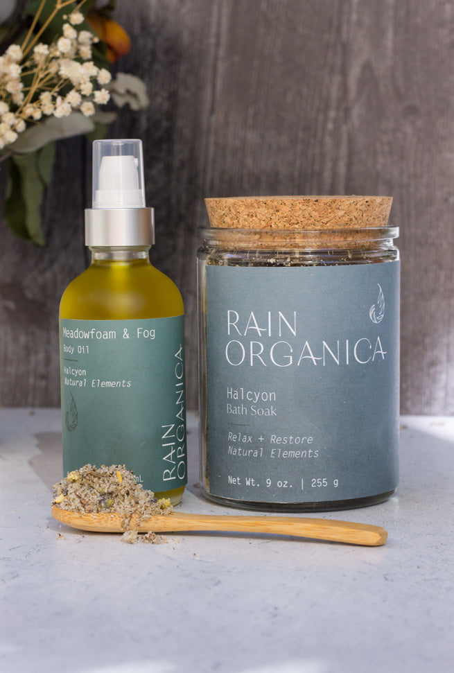 Rain Organica all natural body oil and bath soak naturally fragranced with lavender and chamomile
