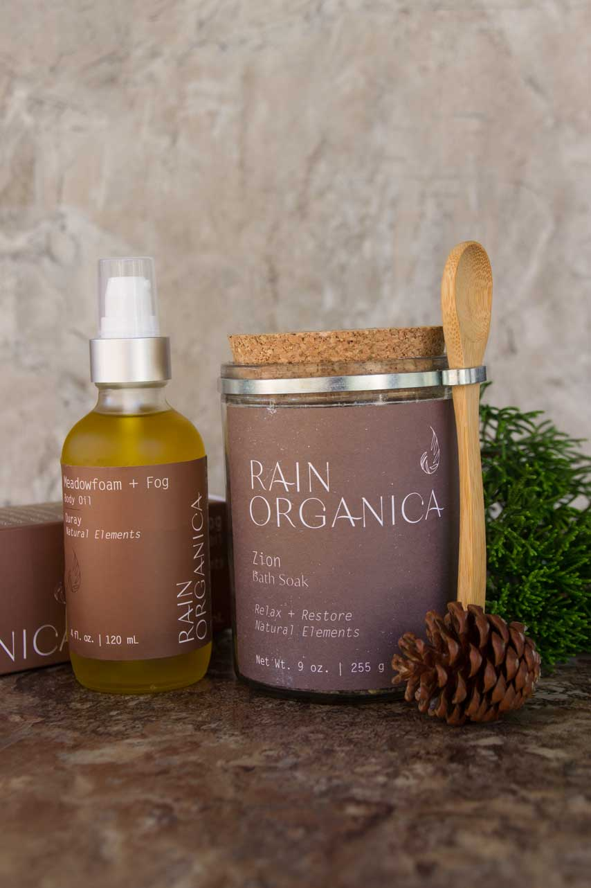 Zion Bath Soak and Meadowfoam + Fog Body Oil (Ouray Blend) All Natural Red Rocks Gift set for body