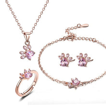 Load image into Gallery viewer, 4 PCS Cat Paw jewerly sets for women