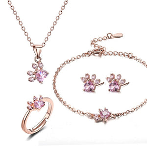 4 PCS Cat Paw jewerly sets for women