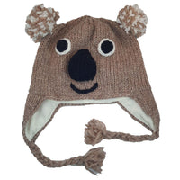 Christmas Gift | Koala Knitted Beanie Hat with Earflaps | Winter Hat |  Dad Hat | Mens Hat | Knit Hat