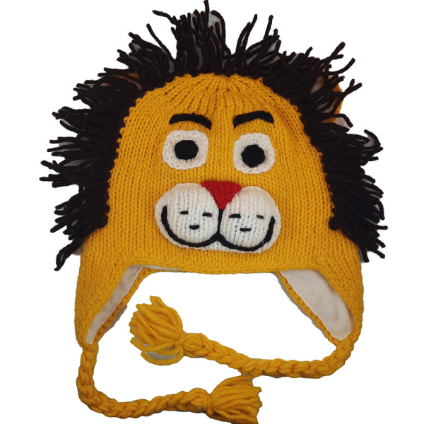 Christmas Gift | Lion Knitted Beanie Hat with Earflaps | Animal Beanie Hat | Wool Winter Hat