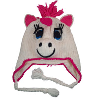 Christmas Gift | Pink Unicorn Knitted Beanie Hat with Ear flaps | Gift for Her | birthday gifts for her