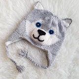 Christmas Gift | Light Gray Husky Knitted Beanie Hat with Earflaps | Animal Beanie Hat | Wool Winter Hat