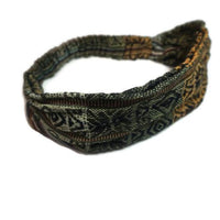 Boho Headband | Yoga Headband | Wide Headband for Women or Men | Yellow Olive Stretchy Hippie Hairband