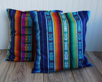 Blue Multicolor Boho Pillow Cover | 19x19 Pillow Case | Decorative Pillow Cover | Throw Toss Pillow Cover | Hippie Cushion