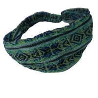 Boho Headband | Yoga Headband | Light Green and Blue Stretchy Woven Hippie Headband | Headband for women  and men|