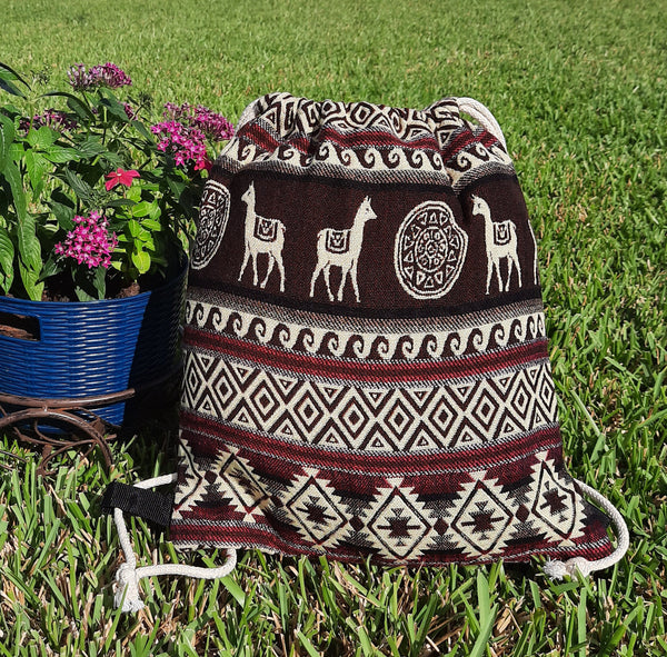Drawstring Backpack | Large Womens Bag | Gym Bag | Boho Backpack | Hippie Backpack | Brown Beige Pink