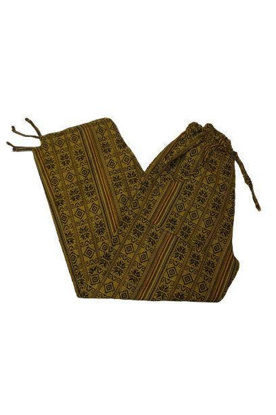 Bohemian Clothing | Boho Pants Size M | Yellow Brown Hippie Pants | Womens Pants with Pockets