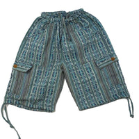 Boho Clothing | Woven Boho Shorts Size XL | Teal Turquoise Hippie Shorts | Tribal Shorts | Unisex Shorts | Father's Day Gift