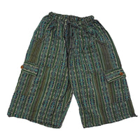 Boho Clothing | Woven Boho Shorts Size M | Green Blue Hippie Shorts | Tribal Shorts | Unisex Shorts