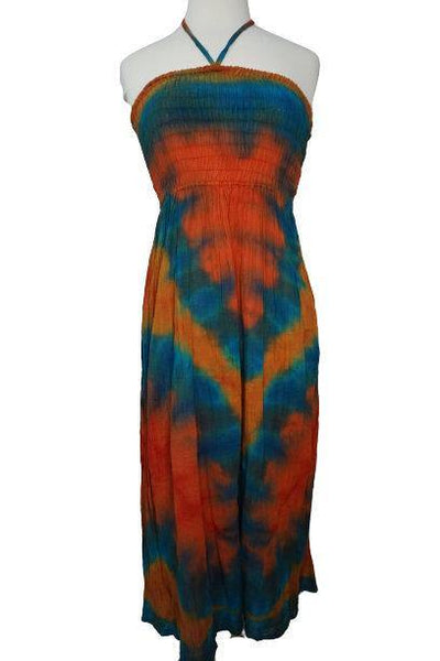 Teal Orange Tie Dye Dress Size SM | Hippie Long Dress | Boho Tribal Dress | Halter Gauze Dress | Summer Outfits | Elastic Top Dress