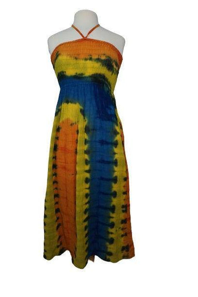 Yellow Blue Orange Tie Dye Dress Size SM | Hippie Long Dress | Boho Tribal Dress | Halter Gauze Dress | Summer Outfits | Elastic Top Dress