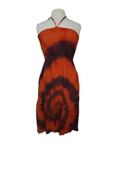 Orange Brown Tie Dye Dress Size S | Hippie Dress | Boho Tribal Dress | Halter Gauze Dress | Summer Outfits | Elastic Top Dress