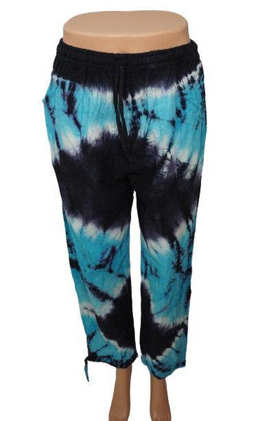 Boho Clothing | Tie Dye Pants Size L | Hippie Pants | Turquoise Black Boho Pants | Summer Unisex Pants with pockets