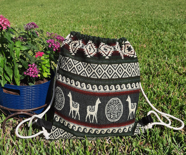 Large Drawstring Backpack | Womens Bag | Mens Gym Bag | Boho Backpack | Hippie Backpack | Green Beige