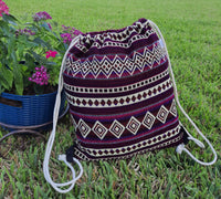 Large Drawstring Backpack | Womens Bag | Mens Gym Bag | Boho Backpack | Hippie Backpack | Burgundy Beige