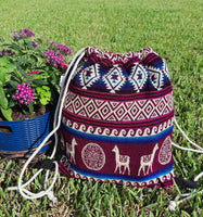 Large Drawstring Backpack | Womens Bag | Mens Gym Bag | Boho Backpack | Hippie Backpack | Fuchsia Beige