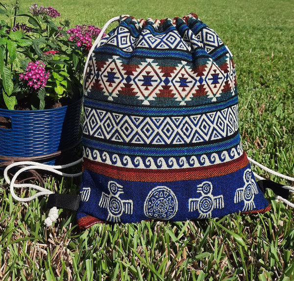 Large Drawstring Backpack | Womens Bag | Boho Backpack | Hippie Backpack | Blue  Teal Beige Red