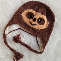Christmas Gift | Sloth Knitted Beanie Hat with Earflaps | Animal Beanie Hat | Wool Winter Hat