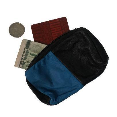 Blue and Black Leather Coin Purse | Minimalist Pouch | Change Bag | Coin Pouch | Air Pods Pouch | Wireless Headphones Bag