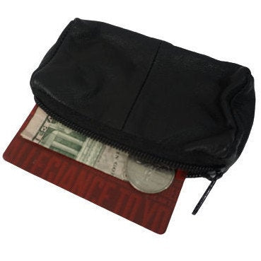 Leather  | Coin Purse | Black Leather Coin Purse - Change Purse - Change Bag - Coin Pouch - Air Pods Pouch - Wireless Headphones Bag