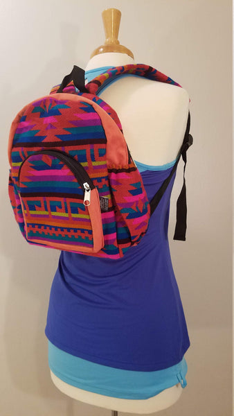 Mini Backpack | Small Backpack | Hippie Backpack | Festival Backpack | Fair Trade | Peach Pink