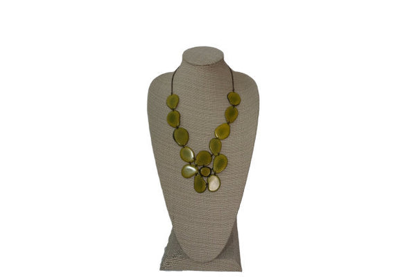 Statement Necklace | Tagua Jewelry | Eco Friendly Jewelry | Light Green Flower