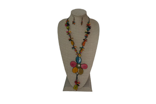Flower Necklace | Statement Necklace & Earrings | Tagua Jewelry Set | Eco Friendly Necklace | Colorful