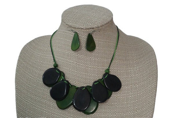 Eco Friendly Jewelry | Statement Necklace & Earrings | Tagua Jewelry | Layer Necklace | Black Green