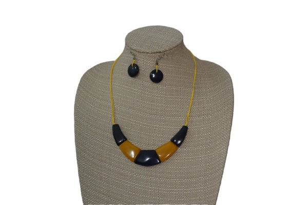 Minimalist Necklace & Earrings | Tagua Jewelry | Eco friendly Necklace | Blue Yellow