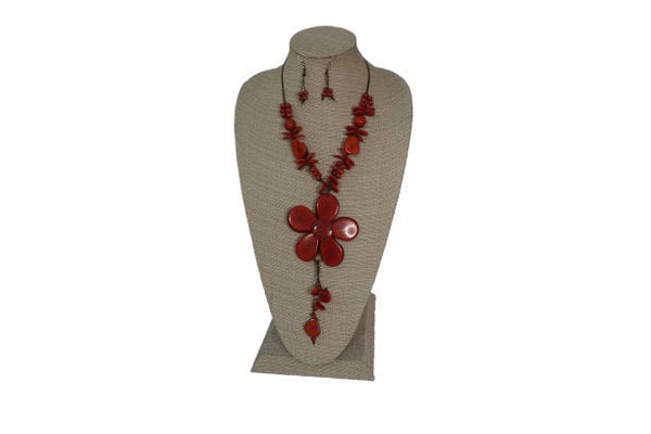 Red Flower Necklace | Statement Necklace & Earrings | Tagua Jewelry | Eco Friendly