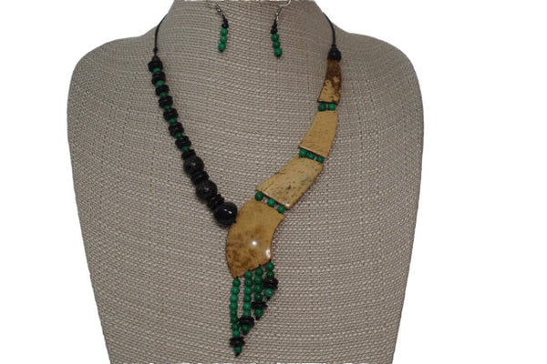 Jewelry Set | Statement Necklace  & Earrings | Eco friendly Necklace | Coconut Shells Green Emerald Seeds