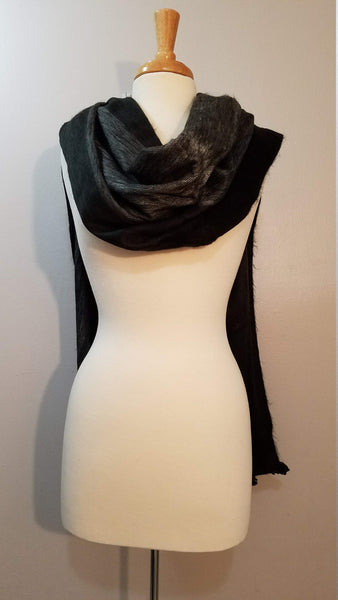 Reversible Alpaca Wrap | Chunky Over sized Scarf | Winter Scarf | Black Gray Alpaca Shawl