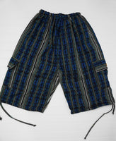 Woven Shorts Size L | Hippie Shorts | Blue Turquoise Tribal Shorts | Unisex Cargo Shorts | Soft Boho Shorts | Father's Day Gift