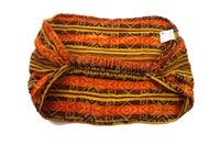 Wide & Stretchy Bohemian Hair wrap | Hot Orange Yellow Headband | Boho Headband for Nurses