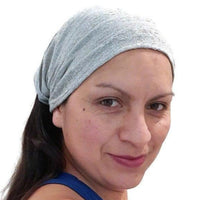 Boho Headband | Wide Yoga Headband | Tribal Hippie Headband | Light Gray Beige Stretchy Woven Hairband for Women or Men