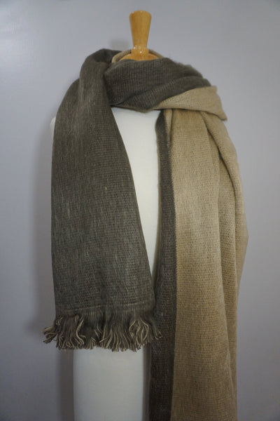Reversible Alpaca Wrap | Light Brown Sand Beige Chunky Over sized Scarf | Winter Scarf | Alpaca Shawl