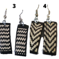 Straw Earrings Black and White