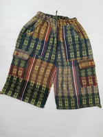 Woven Boho Shorts Size L | Green Yellow Hippie Shorts | Tribal Shorts | Unisex Shorts | Father's Day Gift